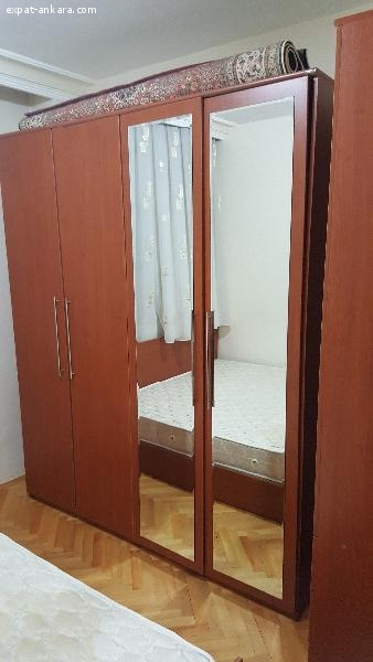 Double bed with mattress, two wardrobes